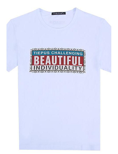 Men's Casual/Daily Simple Summer T-shirt,Letter Round Neck Short Sleeves Cotton