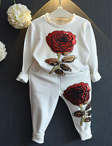 Girls' Floral Long Pant Clothing Set