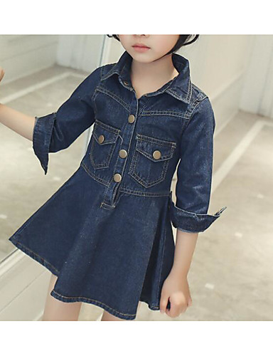 Girl's Solid Dress Short Sleeve Floral Cartoon Blue