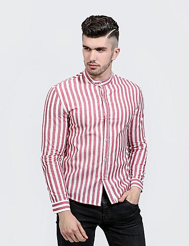 Herren Gestreift Street Schick Lässig/Alltäglich Hemd,Ständer Langarm Polyester