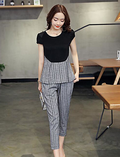 Women's Daily Contemporary Summer T-shirt Pant Suits,Striped Round Neck Short Sleeve