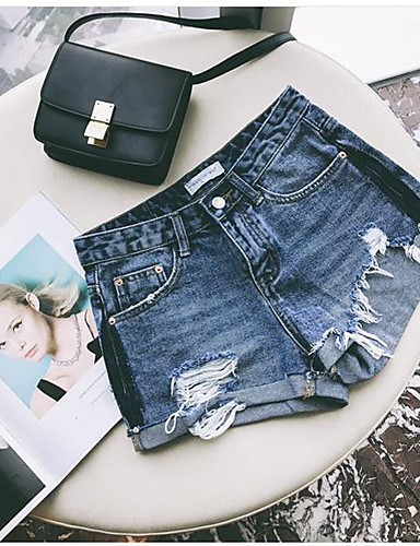 Women's High Waist Micro-elastic Straight Shorts Pants, Cute Sexy Solid Jeans Summer