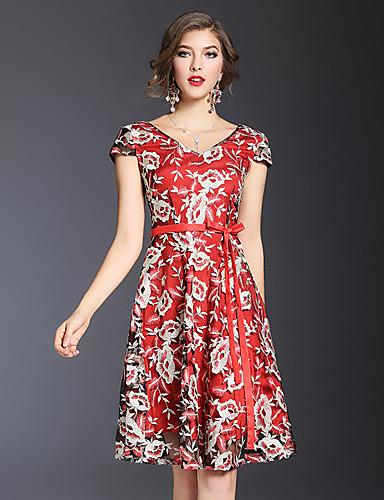 Mulheres Vintage Sofisticado Temática Asiática Bainha Vestido - Renda Bordado, Flor Decote V Acima do Joelho