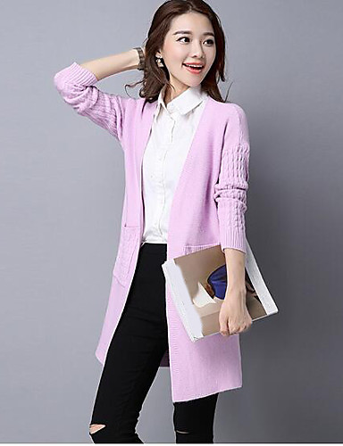 Women's Daily Solid V Neck Cardigan, Long Sleeves Fall Cotton