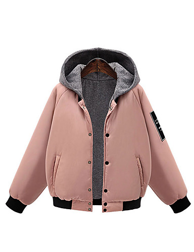 Women's Regular Padded Coat,Vintage Casual Daily Solid-Cotton Cotton Long Sleeves