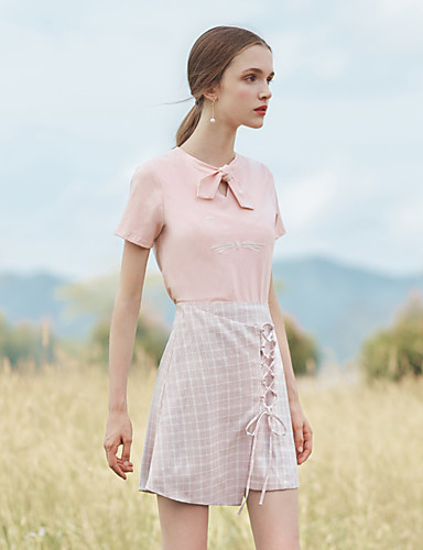 Women's Daily School Going out Holiday Asymmetrical Skirts,Vintage Cute Casual A Line Polyester Plaid Summer