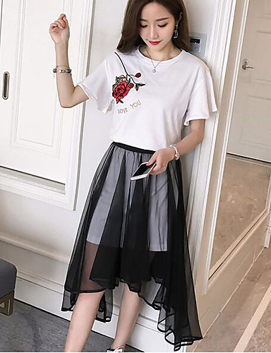 Women's Going out Contemporary Summer T-shirt Skirt Suits,Solid Round Neck Short Sleeve Cotton