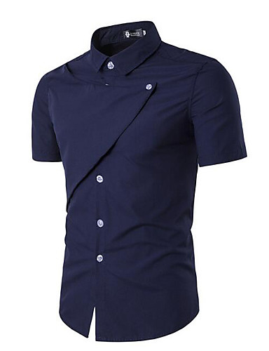 Men's Casual/Daily Work Simple Shirt,Solid Shirt Collar Short Sleeves Cotton Others
