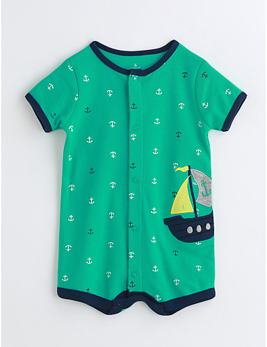 Baby Unisex Print One-Pieces,Cotton Summer Stripes Short Sleeve Green