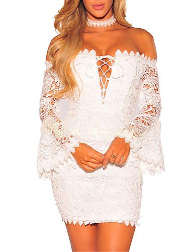 Mulheres Bandagem Para Noite Moda de Rua Tubinho Vestido - Frente Única Vazado, Sólido Decote Canoa Mini Branco