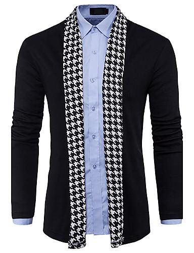 Men's Long Sleeves Wool Cardigan - Color Block V Neck