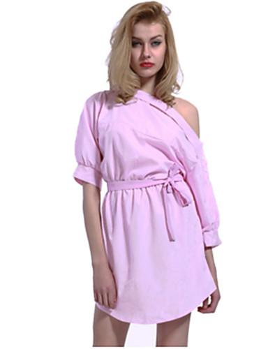 Per donna Per eventi Per uscire Moda città Largo Fodero Vestito A strisce  Monospalla Asimmetrico Blu   Senza spalline bd8ee96b572
