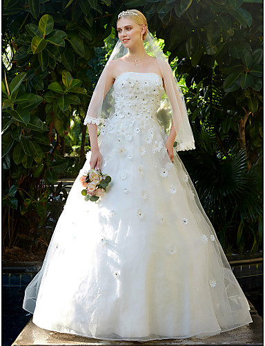 A-linje Stroppeløs Svøpeslep Blonder Tyll Egendefinerte brudekjoler med Perlearbeid Blomst av LAN TING BRIDE®