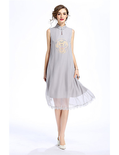 MARCOBOR Women's Daily Going out Casual Chinoiserie Loose Dress,Solid Embroidered Round Neck Knee-length Sleeveless Polyester Summer Mid Rise