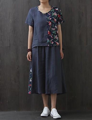 Kortermet,Med stropper T-skjorte Bukse Drakter Trykt mønster Fargeblokk Sommer Høst Moderne Ut på byen Fritid/hverdag Dame