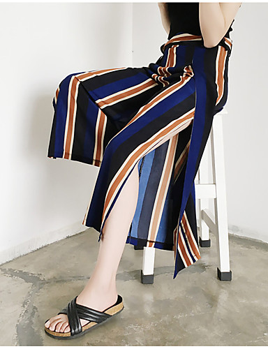 Women's High Rise Inelastic Loose Wide Leg Pants,Street chic Striped Polyester Spring Summer Fall