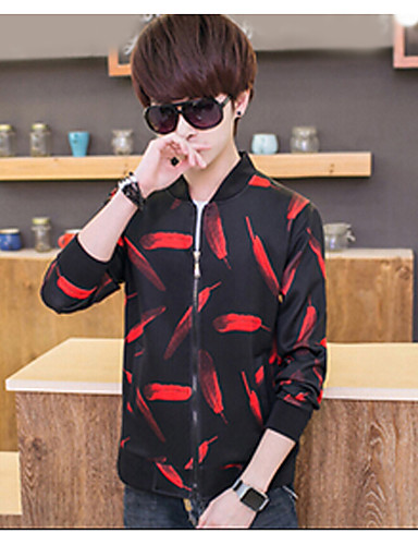 Men's Daily Casual Fall Jacket,Print Round Neck Long Sleeve Regular Polyester