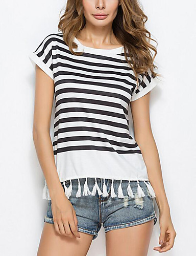 Mulheres Camiseta Franjas, Listrado Poliéster