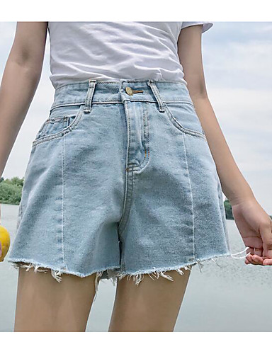Women's High Waist Micro-elastic Shorts Pants,Simple Straight Solid