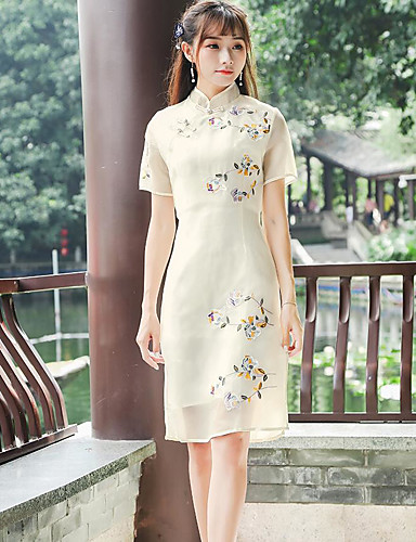 Women's Simple Sheath Dress - Floral Stand / Summer