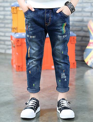 Jungen Jeans Stickerei Baumwolle Frühling Sommer Blau