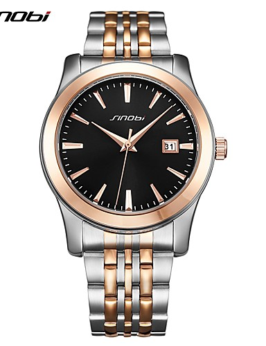 SK Men's Wrist Watch Japanese Quartz 30 m Shock Resistant Stainless Steel Band Analog Luxury Casual Fashion Silver - Gold / Silver / Black Two Years Battery Life