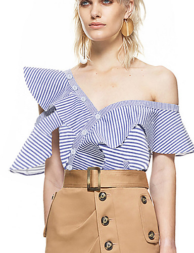 Women's Daily Going out Club Casual Sexy Street chic Shirt,Striped Asymmetrical Short Sleeves Polyester