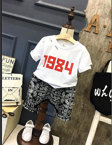 Boys' Geometic Sets,Cotton Summer Short Sleeve Clothing Set