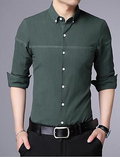 Bomull Annet Langermet,Skjortekrage Skjorte Ensfarget Trykt mønster Vår Enkel Aktiv Fritid/hverdag Herre