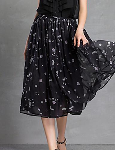 Women's Daily Midi Skirts Swing Print Summer