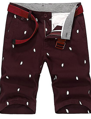 Herre Vintage Enkel Uelastisk Shorts Bukser,Rett Mellomhøyt liv Ensfarget