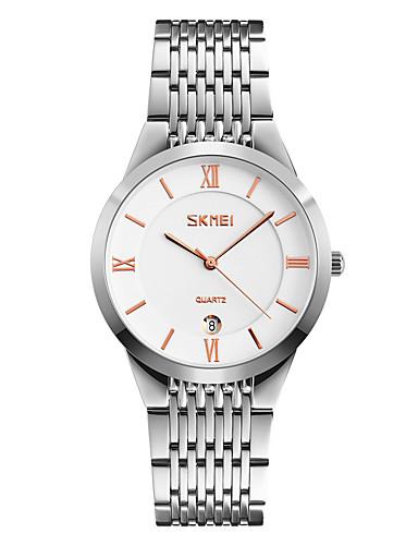 SKMEI Homens Relógio de Pulso Relógio Elegante Japanês Quartzo Calendário Impermeável Aço Inoxidável Banda Legal Prata