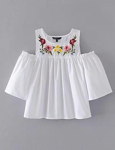 Women's Off Shoulder Cotton Blouse,Floral Embroidery