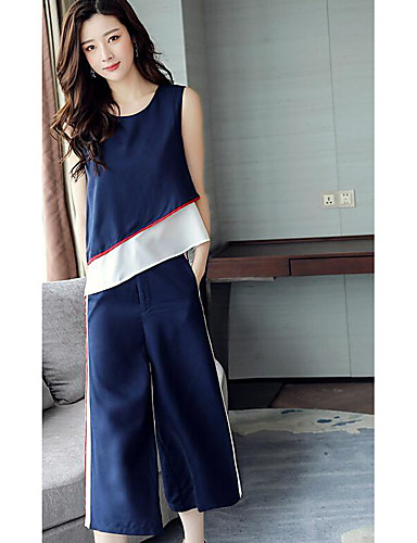 Women's Daily Casual Contemporary Summer T-shirt Pant Suits,Color Block Round Neck Short Sleeve