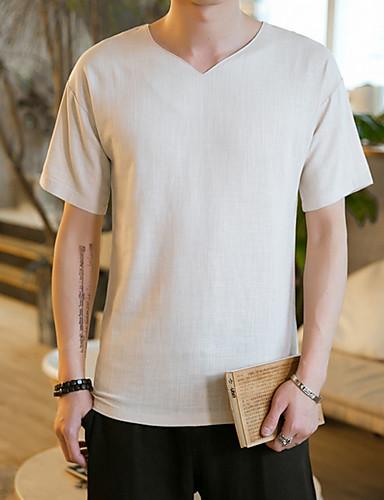 Bomull Kortermet,V-hals T-skjorte Blomstret Enkel Ut på byen Herre