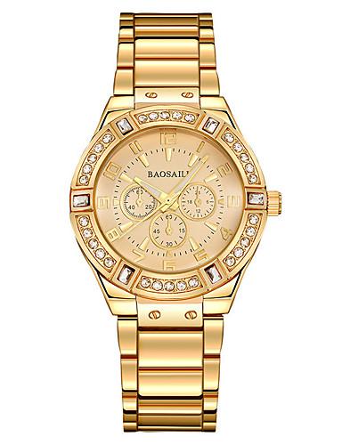 Mulheres Bracele Relógio / Relógio de Pulso Chinês Impermeável / Criativo / Luminoso Aço Inoxidável Banda Amuleto / Luxo / Casual Prata / Dourada / imitação de diamante