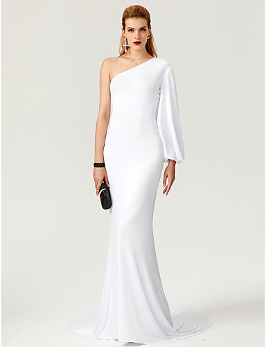 336775ccc4 Sheath   Column One Shoulder Sweep   Brush Train Jersey Formal Evening  Dress with   by TS Couture®