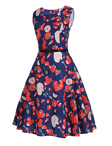 Women's Party Daily Holiday Going out Vintage Sexy Street chic Sheath Dress,Print Round Neck Midi Sleeveless Polyester Summer High Rise