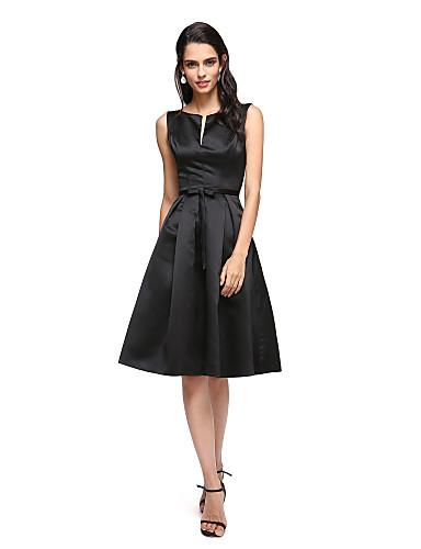 A-linje V-strop Knælang Satin Lille sort kjole Cocktailparty Kjole med Sløjfe(r) ved TS Couture®