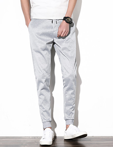 Men's Casual Plus Size Cotton Skinny / Slim / Chinos Pants - Solid Colored