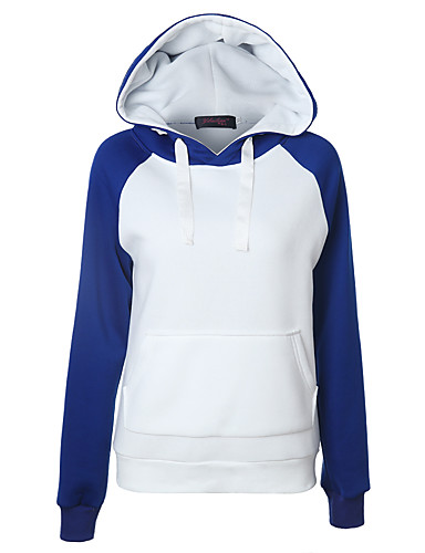 Women's Daily Hoodie Solid Colored Block Hooded Inelastic Cotton Long Sleeve Fall