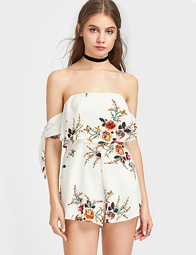 Women's Beach Romper - Floral, Ruffle Floral High Rise Off Shoulder