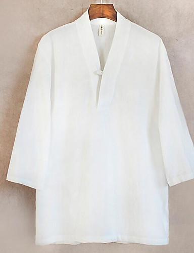 Bomull Lin 3/4 ermer,V-hals T-skjorte Ensfarget Chinoiserie Fritid/hverdag Herre