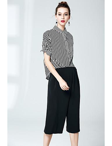 Sløyfe Uelastisk Kortermet,Skjortekrage قميص Bukse Drakter Stripet Sommer Sofistikert Ut på byen Arbeid Dame