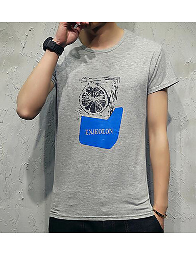Men's Casual/Daily Simple Summer T-shirt, Solid Crew Neck Short Sleeves Cotton