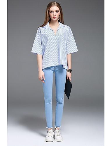 Bomull Halvlange ermer,Skjortekrage T-skjorte Stripet Bohem Fritid/hverdag Dame