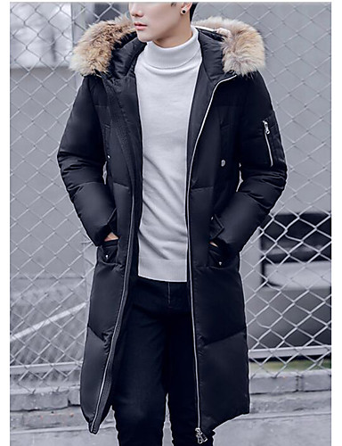 Men's Long Down Coat,Simple Casual/Daily Solid-Others White Duck Down Long Sleeves