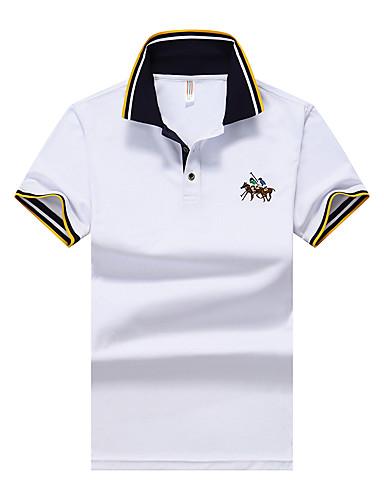 Недорогие Мужские поло-Муж. Классический Polo Рубашечный воротник Однотонный Синий XL / С короткими рукавами / Лето