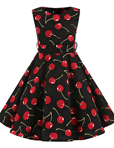 Girl's Floral Dress,Cotton All Seasons Sleeveless Floral Black
