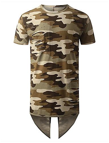 Homens Camiseta Peplum, Côr Camuflagem Algodão Decote Redondo